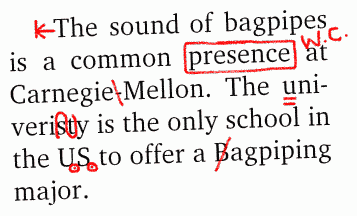 Proofreading marks italics